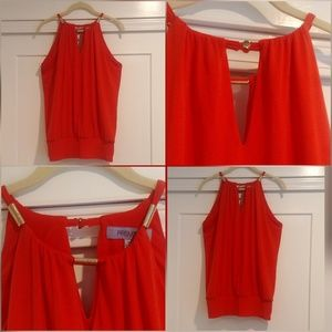 Premise, Halter Top with Gold accents, Red
